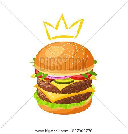 King of burger. Double hamburger. Vector illustration cartoon flat icon isolated on white.