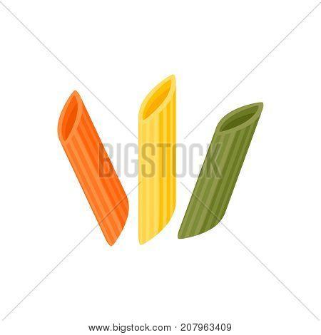 Italian cuisine. Pasta penne - maltagliati spole mostaccioli tricolor - red green yellow. Vector illustration cartoon flat icon isolated on white.