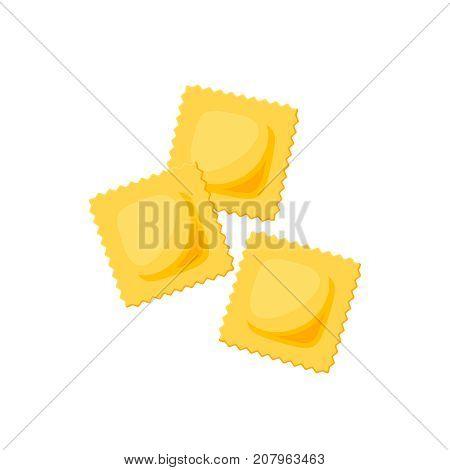 Italian cuisine. Pasta ravioli. Vector illustration cartoon flat icon isolated on white.