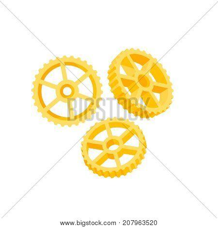 Italian cuisine. Pasta rotelle ruote wagon wheels. Vector illustration cartoon flat icon isolated on white.