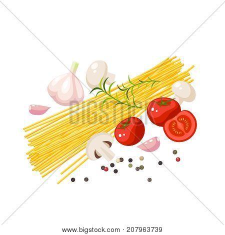 Italian cuisine. Pasta spaghetti mushrooms tomatoes garlic peppercorn. Vector illustration cartoon flat icon isolated on white.