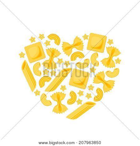 Italian cuisine. Poster heart shape many kinds of pasta. Vector illustration cartoon flat icon isolated on white.