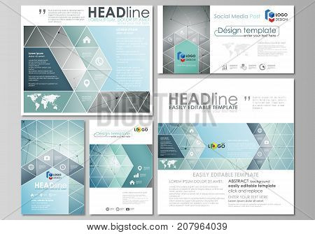 Social media posts set. Business templates. Abstract design template, vector layout in popular formats. Geometric background, connected line and dots. Molecular structure. Scientific medical, concept