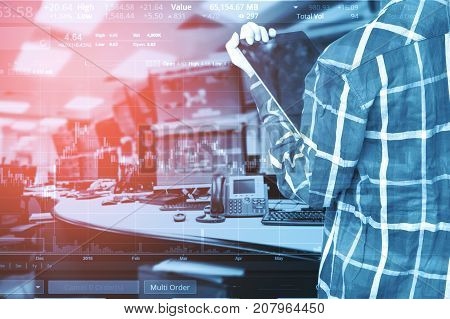 Double exposure of business women trading stock in room with computer and graph for Business Trading concept.
