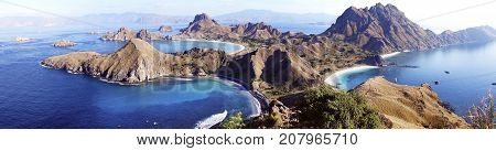 High Panoramic Scenic View Of Padar Island With  Three Beautiful Bays And Sandy Beaches Surrounded B