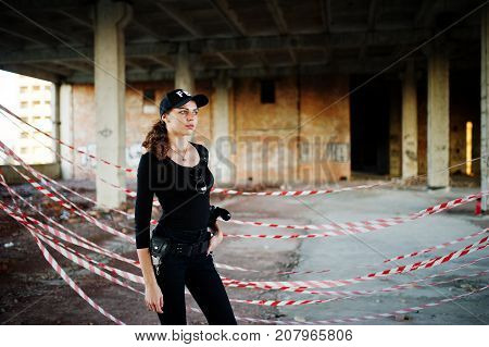 Sexy Fbi Female Agent At Abadoned Place.