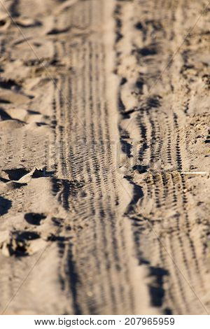 trace of the tire tread . Photo of abstract background