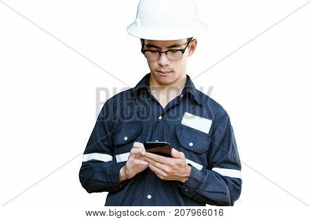 Asian manEngineer or Technician in white helmet glasses and blue working shirt suit using smart phone isolated on white mechanic and Oil and Gas industrial concept with clipping path.