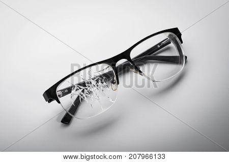 Broken Glasses On A White Background