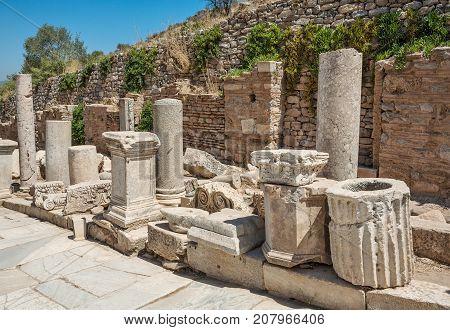 Ruins of Curetes street in antique Ephesus. Selcuk in Izmir Province Turkey.
