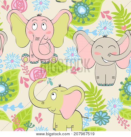 Vector seamless pattern with elephant and flowers