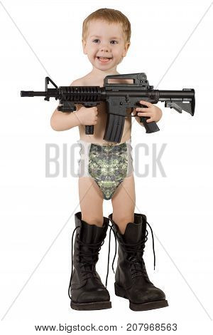 Baby Play Gun, Kid Boy Playing Army in Military Boots, camouflage diaper
