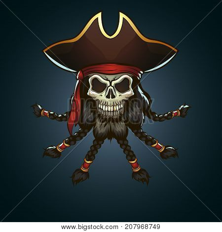 Pirate Captain Skull With Beard Cartoon Illustration