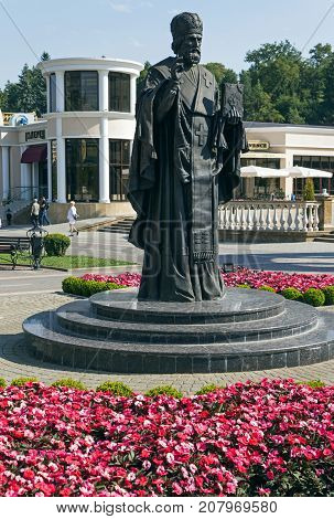 KISLOVODSK, RUSSIA - SEPTEMBER 06, 2017:A monument to St. Nicholas the Wonderworker on Kurortnoy Boulevardsince 2016.A three-meter sculptural image adorns the resort town Kislovodsk.