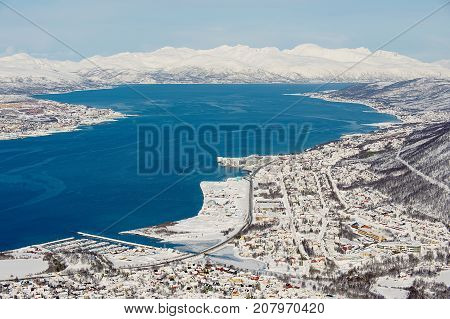 View to the city of Tromso, 350 kilometers north of the Arctic Circle, Norway.