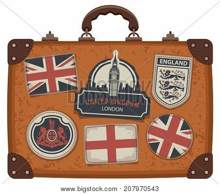 Vector image of travel suitcase with patches set with British and English symbols coats of arms and flags of the United Kingdom and England in retro style
