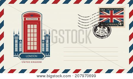 Vector envelope with London telephone booth a postage stamp with flag of United Kingdom and rubber stamp in form of royal coat of arms
