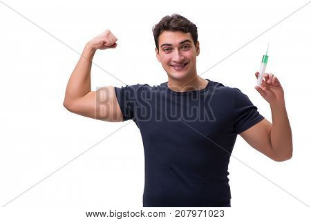 Young man in doping concept isolated on white