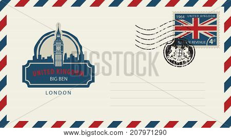 Vector envelope with London Big Ben a postage stamp with flag of United Kingdom and rubber stamp in form of royal coat of arms