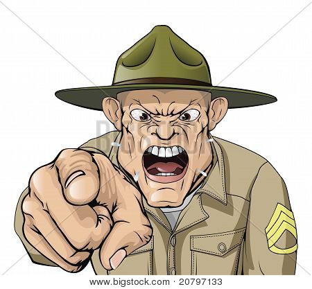 Illustration of cartoon angry looking army drill sergeant shouting at the viewer poster