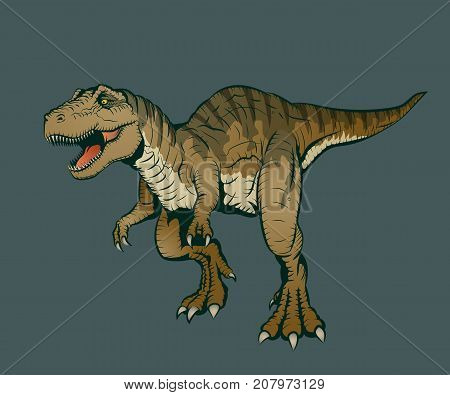 Vector Illustration Of Tyrannosaurus Rex In Hand Drawn Style