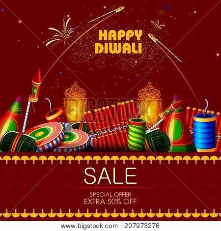 easy to edit vector illustration of cracker for Happy Diwali holiday shopping sale offer background