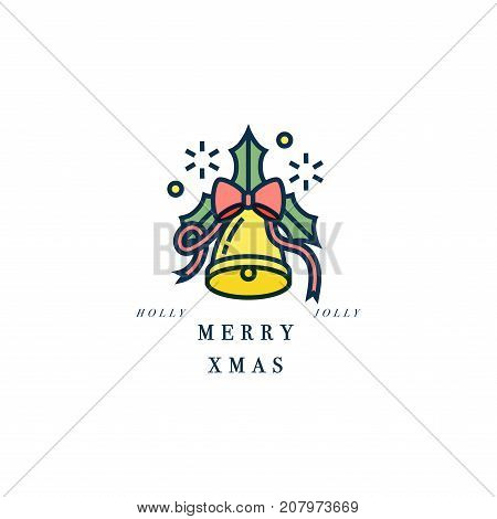 Lovely Merry Xmas concept linear design with Christmas bell. Greeting typography compositions Xmas cards, banners or posters and other printables.