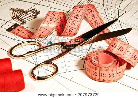 Tailor Sewing accessories on Fabric curve Seamstress Clothing Scissors and Ruler