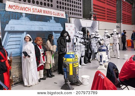 NORWICH NORFOLK / UK - OCTOBER 7th 2017: NORCON The Norfolk TV Film and Comic Convention with displays exhibits celebrities talks traders selling merchandise and bespoke cosplay accessories. Norwich Star Wars Club UK line up in costume