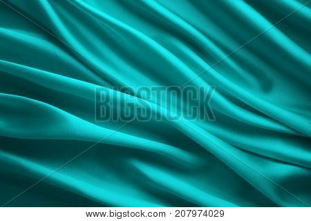 Silk Fabric Background Blue Satin Cloth Waves Abstract Flowing Waving Textile