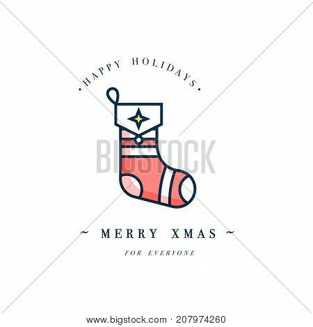 Lovely Merry Xmas concept linear design with Christmas ball. Greeting typography compositions Xmas cards, banners or posters and other printables.