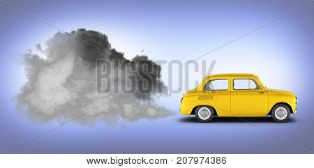 Illustration Of Pollution By Exhaust Gases The Car Releases A Lot Of Smoke On Blue Gradient Backgrou
