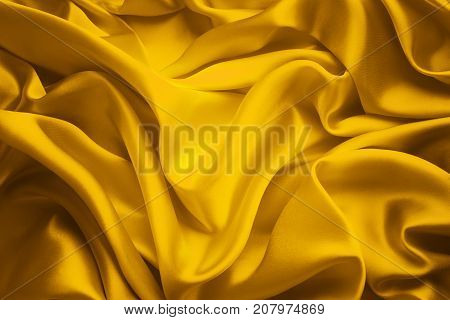 Silk Fabric Background Yellow Satin Cloth Waves Abstract Flowing Waving Textile