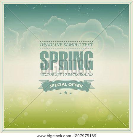 Vintage green and sunny spring background. Vector illustration.