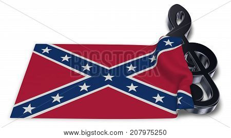 clef symbol and flag of the Confederate States of America - 3d rendering