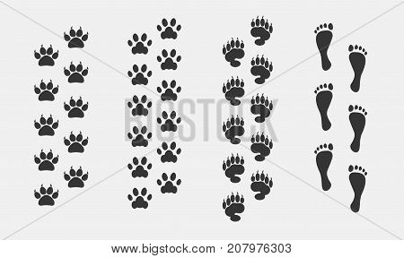 foot print vector set animals  dog cat bear and human