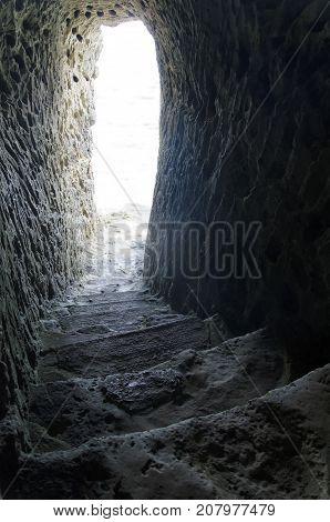 View of mysterious passage overlooking the sea