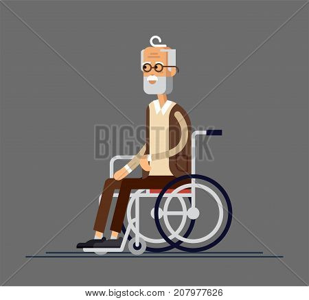 Elderly person. Grandfather in a wheelchair. Vector illustration in a flat style. Elderly disabled man