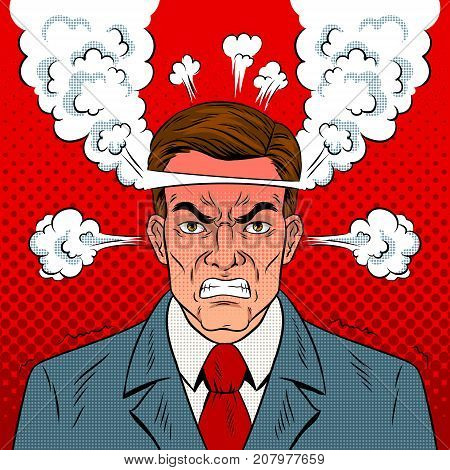 Angry man with boiling head pop art retro vector illustration. Comic book style imitation.