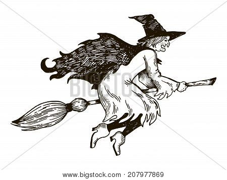 Witch flying on broomstick engraving vector illustration. Scratch board style imitation. Hand drawn image.