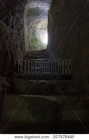 View of hidden passage excavated in the rock