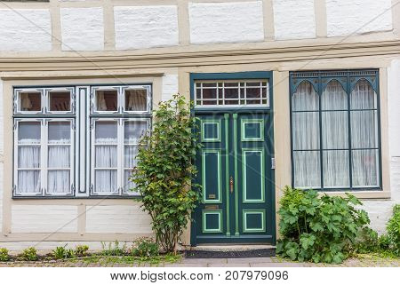 Green Door In The Historic Center Of Luneburg