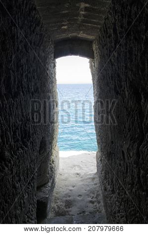 View of hidden passage that ends in the sea