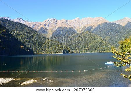 Mountain, forest and lake Abkhazia Caucasus mountains Lake Ritsa Mountain, forest and lake Abkhazia Caucasus mountains Lake Ritsa Mountain, forest and lake  Caucasus mountains Lake