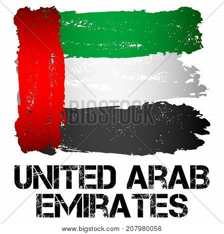 Flag of United Arab Emirates from brush strokes in grunge style isolated on white background. Federal absolute monarchy in Western Asia at Arabian Peninsula on Persian Gulf. Vector illustration