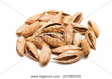 almonds in shell on a white background