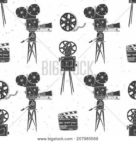 Camera film reel and clapperboard vintage seamless pattern handdrawn sketch retro movie industry vector illustration.