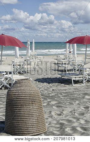 View of a off season beach in Salento