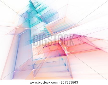 Abstract multicolor background element on white. Fractal graphics series. Three-dimensional composition of repeating grids. Information technology concept.