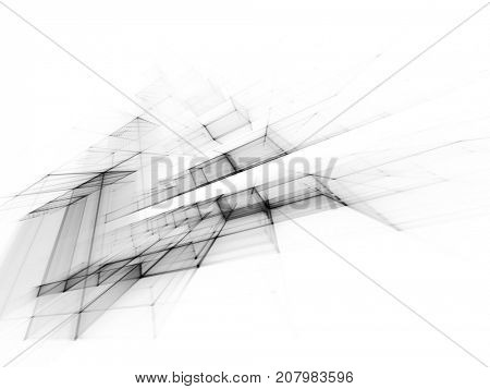 Abstract high key background element. White texture. Fractal graphics series. Three-dimensional composition of repeating grids. Information technology concept.